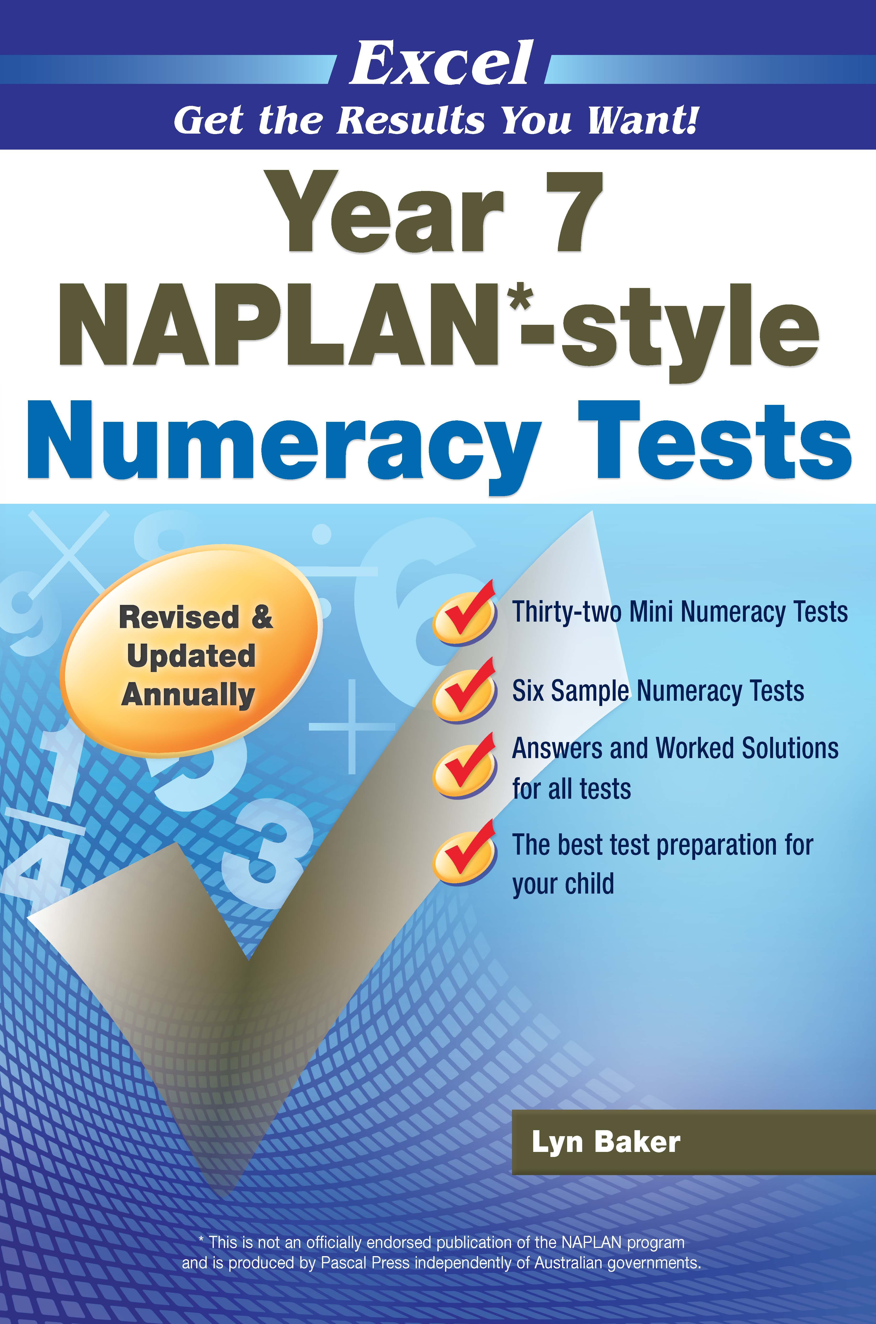 Excel NAPLAN*-style Numeracy Tests Year 7